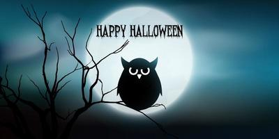 Halloween banner with owl and tree against moon vector