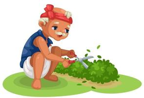 Cute old gardener cutting the bushes vector