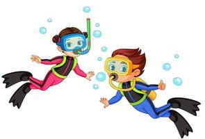 Scuba diver girl and boy vector