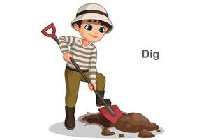 Cute little boy digging hole vector
