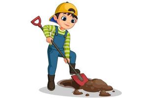 Cute little boy digging hole cartoon  vector