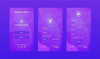 Mobile UI template kit in purple gradient design vector