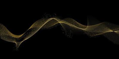 diseño de ondas doradas que fluyen vector