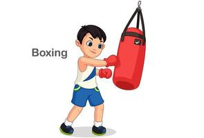 Boxing Boy With Punching Bag vector