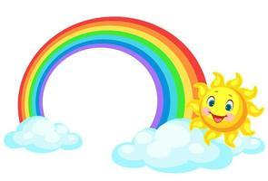 Beautiful rainbow with the sun vector