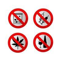 Forbidden signs icon set vector