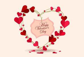 árbol de corazón de san valentín con mensaje vector