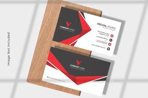 Dark grey and red business card template vector