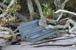 Bench damaged by Hurricane Matthew