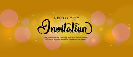 Gold bokeh invitation card template design