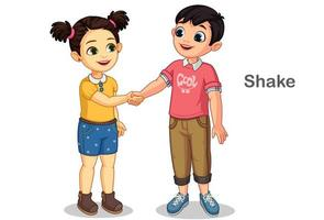 Little kids shaking hands vector
