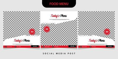 Set of food banner template for social media post