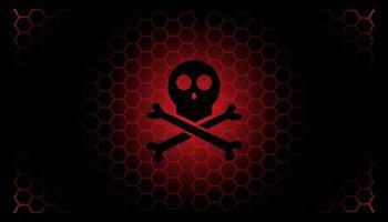 Danger and poison skull banner background     vector