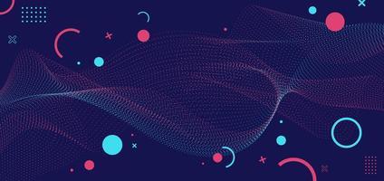 Fondo abstracto partículas azules y rosas diseño de onda de puntos