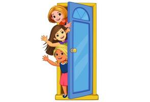 Little girls peeking out of the door vector