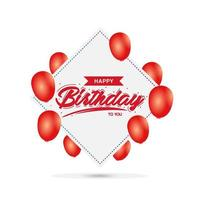 Birthday greeting card or banner with balloons