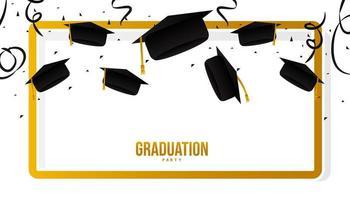 tarjeta de felicitación de graduación o banner de felicitaciones vector