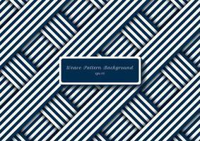 Resumen rayas diagonales azules y blancas líneas patrón de tejido vector