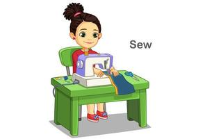 Cute little girl sewing clothes by sewing machine