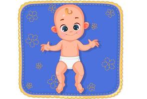 Cute happy baby lying on mat vector