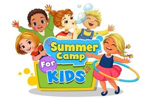 Happy kids playing around the Summer camp board vector