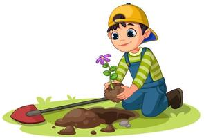 Little boy planting small flower plant in the garden vector