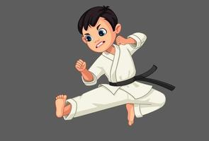 Cute little karate boy in karate pose vector