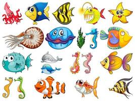 Large Set of Sea Creatures on White Background vector