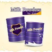 Realistic Milk Powders for Kids vector