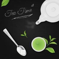 la hora del té con fondo negro