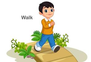 Cute boy walking on the path vector