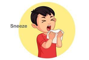 Cute boy sneezing