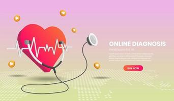 Online diagnosis concept landing page vector