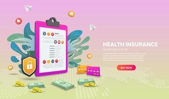 Health insurance banner vector
