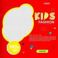 plantilla de diseño de publicación de redes sociales de moda infantil vector