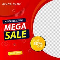 Mega sale social media post with red gradient