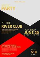 Black and red music party poster template