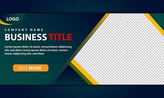 Green and yellow web banner template for corporate business vector