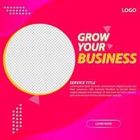 Trendy Pink Business Social Media Post Template vector