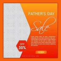 publicación en las redes sociales del feliz día del padre naranja vector