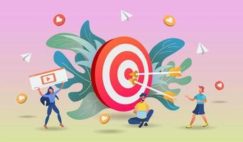 Shopping online concept with characters and big target