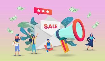 Final sale with megaphone application design vector