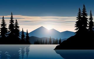 Beautiful Mountain Sunset over Water  vector