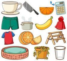 Gran conjunto de diferentes alimentos y otros artículos en blanco. vector