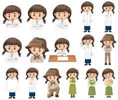 Conjunto de niña en diferentes trajes sobre fondo blanco.