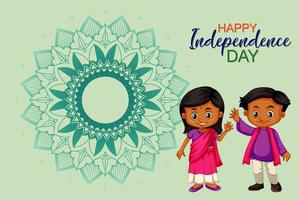 Happy Independence Day Poster Design with Happy Kids vector
