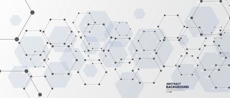 Abstract connected hexagon technology background vector
