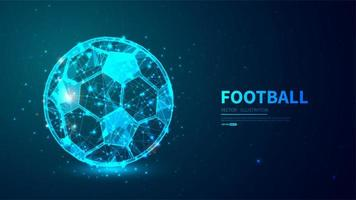 Glowing, futuristic football ball background vector
