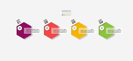 conception de modèle infographique moderne hexagone