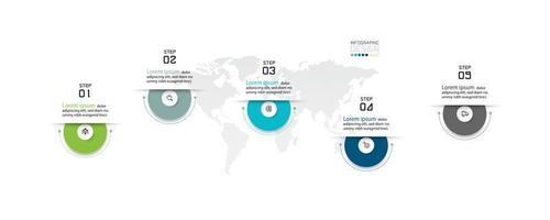diseño de plantilla de infografía moderna con formas circulares vector